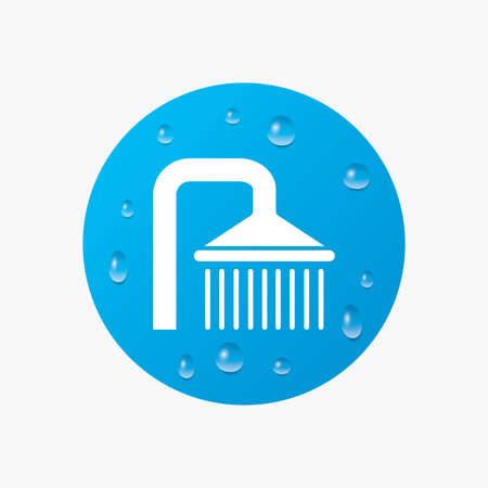 douche: Water drops on button. Shower sign icon. Douche with water drops symbol. Realistic pure raindrops. Blue circle. Vector