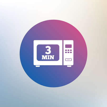 microwave oven: Cook in microwave oven sign icon. Heat 3 minutes. Kitchen electric stove symbol. Icon on blurred background. Vector