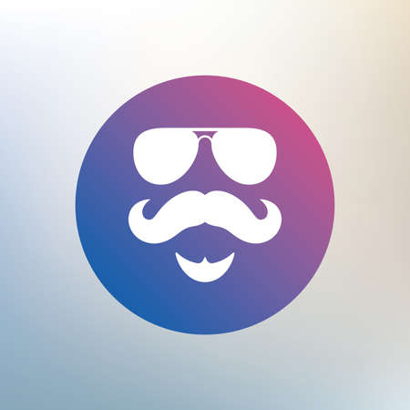Mustache And Sunglasses Sign Icon Hipster With Beard Symbol