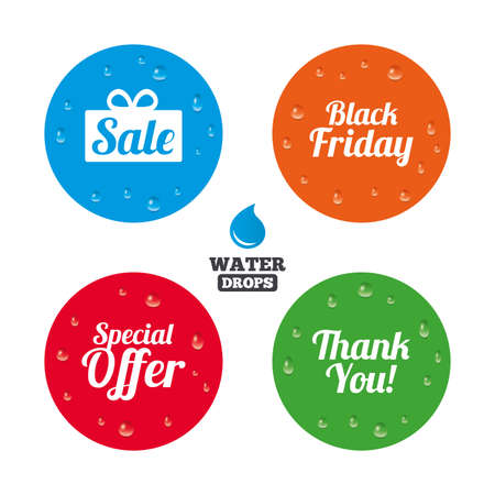 you are special: Water drops on button. Sale icons. Special offer and thank you symbols. Gift box sign. Realistic pure raindrops on circles. Vector Illustration