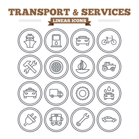 public services: Transport and services linear icons set. Ship, car and public bus, taxi. Repair hammer and wrench key, wheel and cogwheel. Sailboat and bicycle. Thin outline signs. Flat vector Illustration