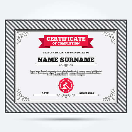 judge gavel: Certificate of completion. Auction hammer icon. Law judge gavel symbol. Template with vintage patterns. Vector