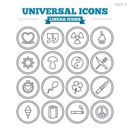 Iconos lineales Conjunto universal. Cotizaciones, corazón y pastel de la cinta. Clover, setas y crema de hielo. Fumar, cuchillo y tenedor. Signos de esquema delgadas. Vector plana