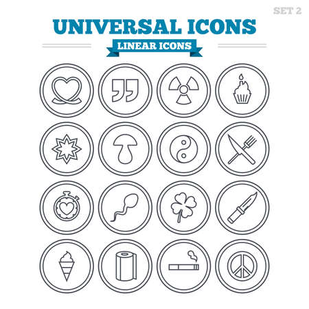 spermatozoa: Universal linear icons set. Quotes, ribbon heart and cake. Clover, mushroom and ice cream. Smoking, knife and fork. Thin outline signs. Flat vector