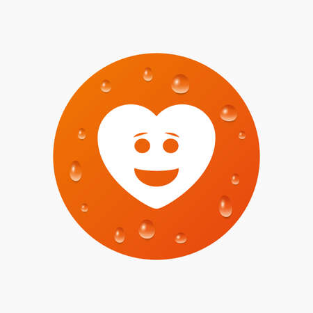 smiley face: Water drops on button. Smile heart face sign icon. Happy smiley with hairstyle chat symbol. Realistic pure raindrops. Orange circle. Vector