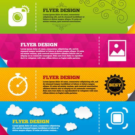 Flyer brochure designs. Hipster retro photo camera icon. Autofocus zone symbol. Stopwatch timer sign. Landscape photo frame. Frame design templates. Vector