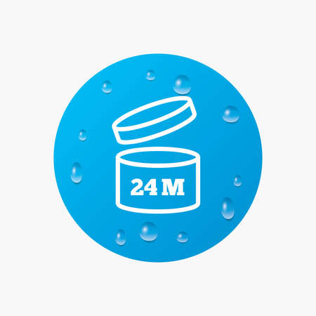 expiration: Water drops on button. After opening use 24 months sign icon. Expiration date. Realistic pure raindrops. Blue circle. Vector