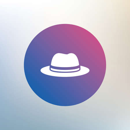 headdress: Top hat sign icon. Classic headdress symbol. Icon on blurred background. Vector Illustration