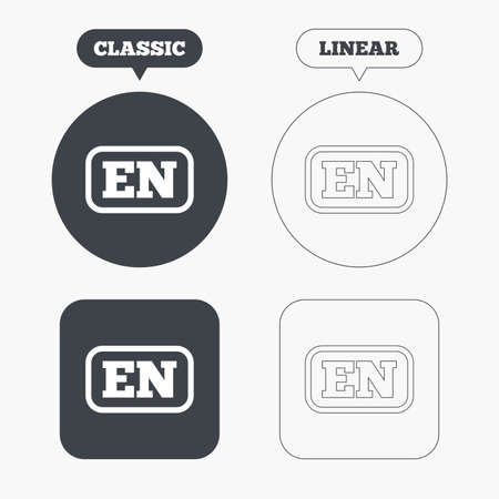 en: English language sign icon. EN translation symbol with frame. Classic and line web buttons. Circles and squares. Vector Illustration