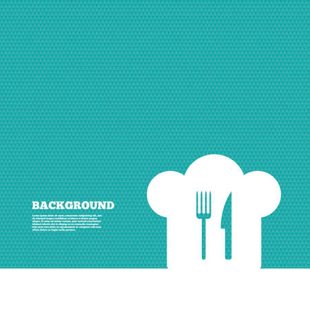 the cook: Background with seamless pattern. Chef hat sign icon. Cooking symbol. Cooks hat with fork and knife. Triangles green texture. Vector Illustration
