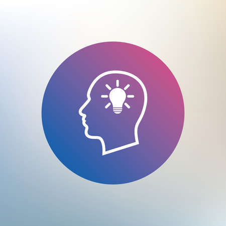 idea symbol: Head with lamp bulb sign icon. Male human head idea symbol. Icon on blurred background. Vector Illustration