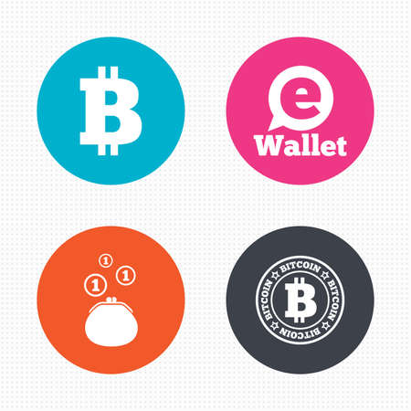 cash money: Circle buttons. Bitcoin icons. Electronic wallet sign. Cash money symbol. Seamless squares texture. Vector