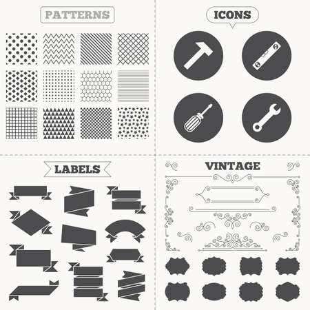 spirit level: Seamless patterns. Sale tags labels. Screwdriver and wrench key tool icons. Bubble level and hammer sign symbols. Vintage decoration. Vector