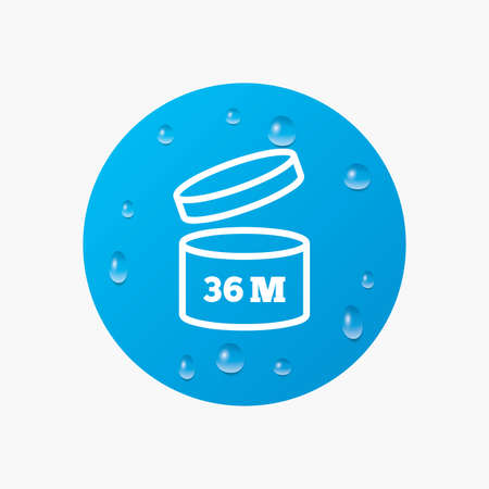 expiration: Water drops on button. After opening use 36 months sign icon. Expiration date. Realistic pure raindrops. Blue circle. Vector