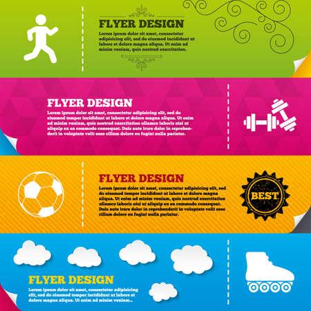 rollerblades: Flyer brochure designs. Football ball, Roller skates, Running icons. Fitness sport symbols. Gym workout equipment. Frame design templates. Vector Illustration