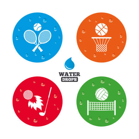 Water drops on button. Tennis rackets with ball. Basketball basket. Volleyball net with ball. Golf fireball sign. Sport icons. Realistic pure raindrops on circles. Vector Illustration