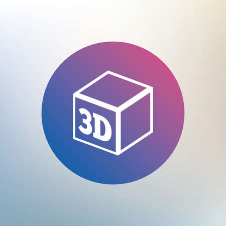 additive manufacturing: 3D Print sign icon. 3d cube Printing symbol. Additive manufacturing. Icon on blurred background. Vector Illustration