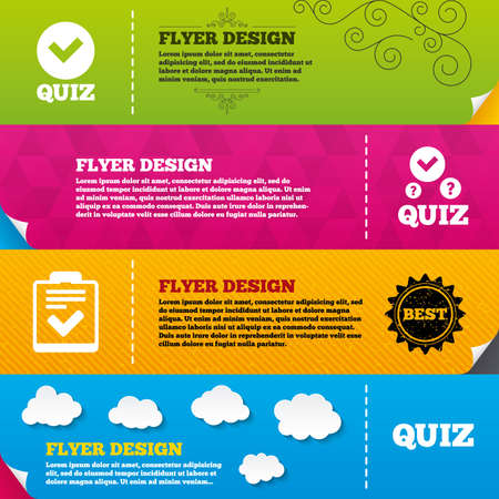 Flyer brochure designs. Quiz icons. Checklist with check mark symbol. Survey poll or questionnaire feedback form sign. Frame design templates. Vector