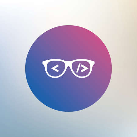 coder: Coder sign icon. Programmer symbol. Glasses icon. Icon on blurred background. Vector Illustration