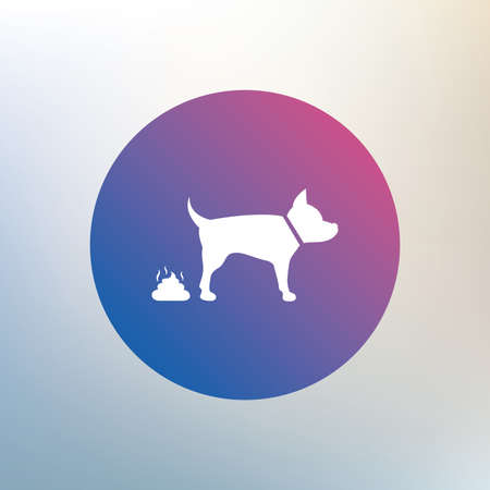 Feces sign icon. Clean up after pets symbol. Put it in the bag. Icon on blurred background. Vector