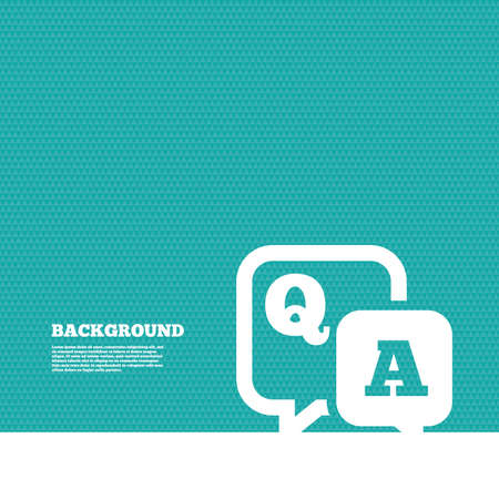 Background with seamless pattern. Question answer sign icon. Q&A symbol. Triangles green texture. Vector Illustration