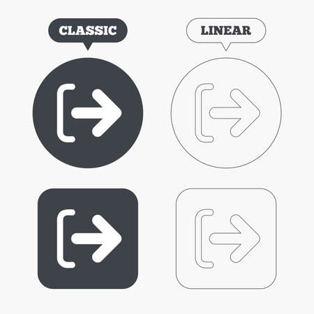 sign out: Logout sign icon. Sign out symbol. Arrow icon. Classic and line web buttons. Circles and squares. Vector