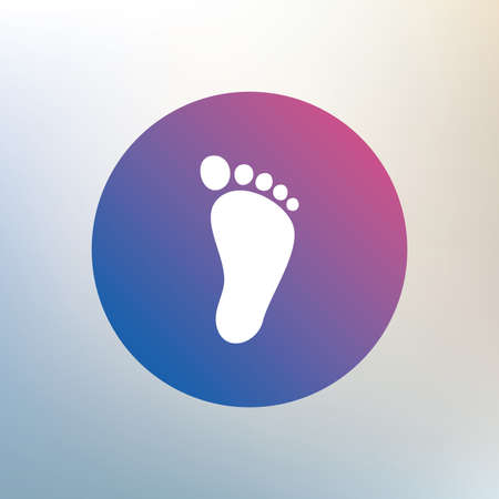 barefoot walking: Child footprint sign icon. Toddler barefoot symbol. Icon on blurred background. Vector