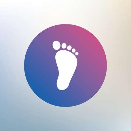 pies descalzos: Huella Ni�o signo icono. Ni�o s�mbolo descalzo. Icono en el fondo borroso. Vector