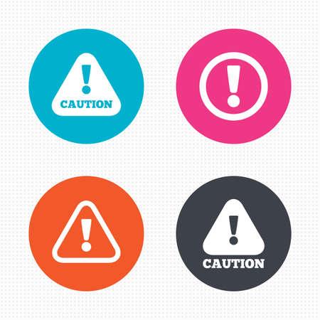 Boutons de cercle. Attention, icônes de prudence. Symboles de détresse. Signe d'exclamation. Carrés Seamless texture. Vecteur