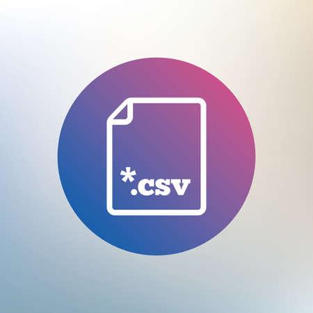 tabellare: File icona del documento. Scarica tasto tabellare file di dati. CSV simbolo estensione del file. Icona su sfondo sfocato. Vettore Vettoriali