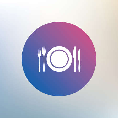 etiquette: Plate dish with forks and knifes. Eat sign icon. Cutlery etiquette rules symbol. Icon on blurred background. Vector