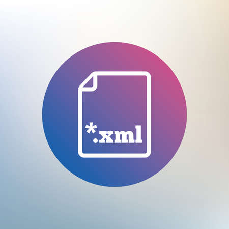 extensible: File document icon. Download XML button. XML file extension symbol. Icon on blurred background. Vector Illustration