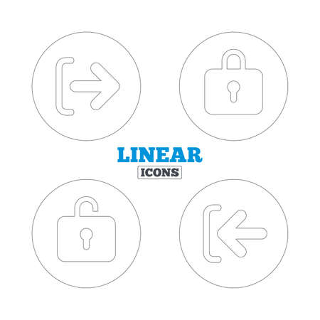 lock out: Login and Logout icons. Sign in or Sign out symbols. Lock icon. Linear outline web icons. Vector Illustration