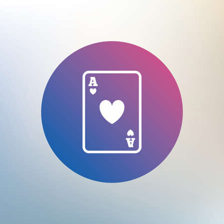 ace of hearts: Casino sign icon. Playing card symbol. Ace of hearts. Icon on blurred background. Vector