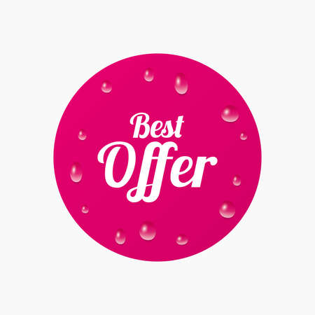 offer icon: Water drops on button. Best offer sign icon. Sale symbol. Realistic pure raindrops. Pink circle. Vector Illustration