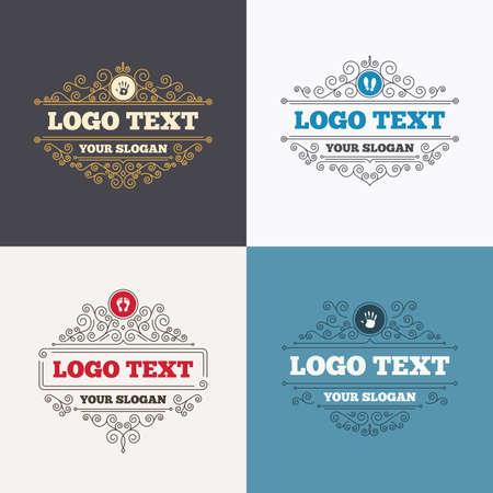 do not enter sign: Flourishes calligraphic emblems. Hand and foot print icons. Imprint shoes and barefoot symbols. Stop do not enter sign. Luxury ornament lines. Vector Illustration