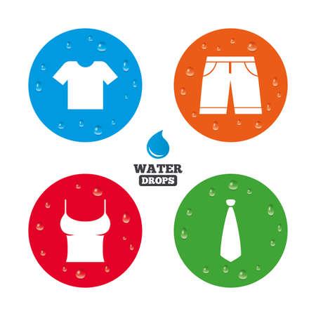Wassertropfen auf Knopf. Kleidung Symbole. T-Shirt und Bermudashorts Zeichen. Business-Krawatte-Symbol. Realistische reine Regentropfen auf Kreisen. Vektor Standard-Bild - 42810613