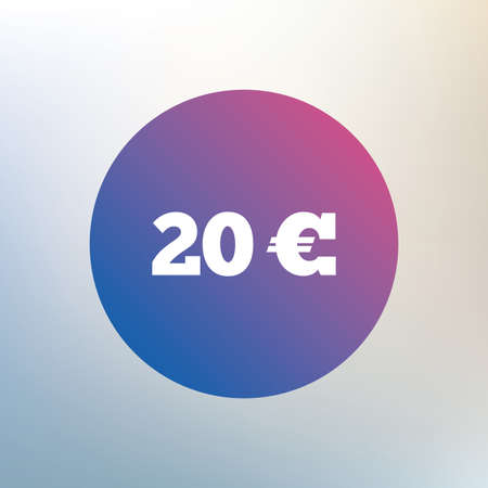 20 euro: 20 Euro sign icon. EUR currency symbol. Money label. Icon on blurred background. Vector