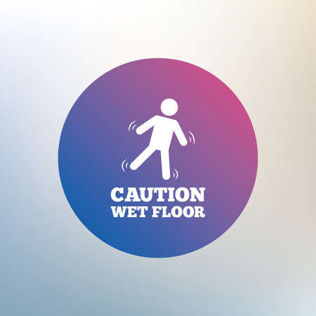 wet floor caution sign: Caution wet floor sign icon. Human falling symbol. Icon on blurred background. Vector