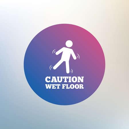 wet floor caution sign: Precauci�n mojada icono de se�alizaci�n en el suelo. S�mbolo caer humano. Icono en el fondo borroso. Vector