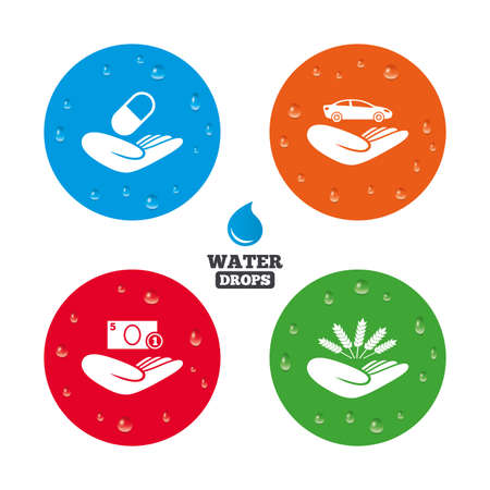 save money: Water drops on button. Helping hands icons. Protection and insurance symbols. Save money, car and health medical insurance. Agriculture wheat sign. Realistic pure raindrops on circles. Vector Illustration
