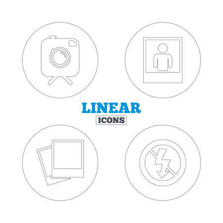 no symbol: Hipster retro photo camera with mustache icon. No flash light symbol. Human selfie portrait photo frame. Linear outline web icons. Vector