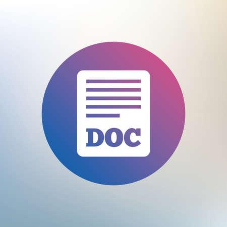 doc: File document icon. Download doc button. Doc file symbol. Icon on blurred background. Vector Illustration