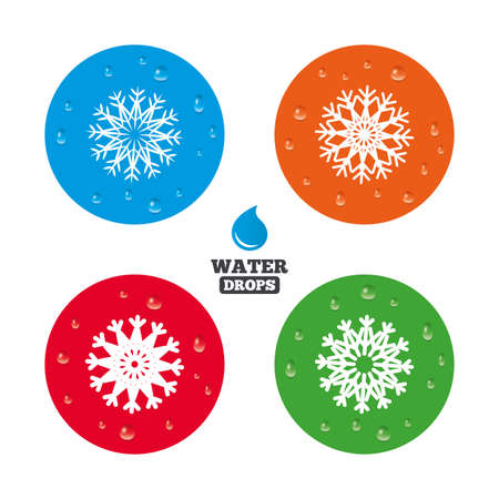 frozen water: Water drops on button. Snowflakes artistic icons. Air conditioning signs. Christmas and New year winter symbols. Frozen weather. Realistic pure raindrops on circles. Vector