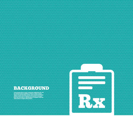 Background with seamless pattern. Medical prescription Rx sign icon. Pharmacy or medicine symbol. Triangles green texture. Vector
