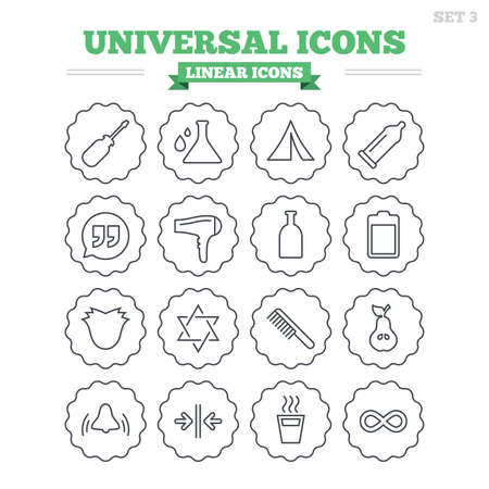 automatic doors: Universal linear icons set. Camping tent, bottle and hot coffee drink. Hair dryer, battery and david star. Screwdriver tool, quotes and camping tent. Thin outline signs. Flat vector