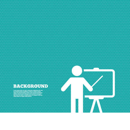 green texture: Background with seamless pattern. Presentation sign icon. Man standing with pointer. Blank empty billboard symbol. Triangles green texture. Vector