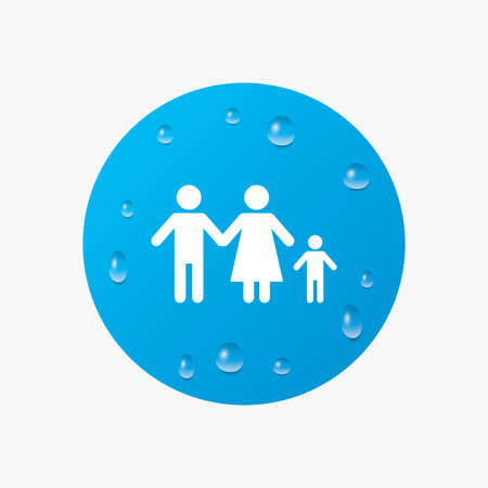 one child: Water drops on button. Family with one child sign icon. Complete family symbol. Realistic pure raindrops. Blue circle. Vector