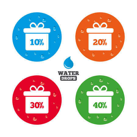 reductions: Water drops on button. Sale gift box tag icons. Discount special offer symbols. 10%, 20%, 30% and 40% percent discount signs. Realistic pure raindrops on circles. Vector Illustration