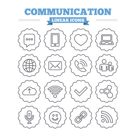 dating icons: Communication linear icons set. Smartphone, laptop and speech bubble symbols. Wi-fi and Rss. Online love dating, mail and globe thin outline signs. Flat vector Illustration